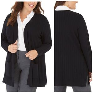 Alfani Deep Black Wide-Ribbed Cardigan Sweater 2X